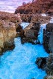 瀑布Barnafoss在冰岛 库存照片
