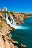 瀑布Duden在Antalya,土耳其 免版税库存照片