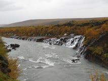 瀑布Hraunfossar 库存图片