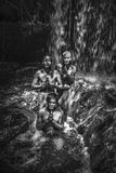 瀑布Kbal Spean在柬埔寨 免版税库存图片