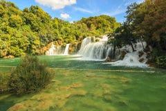 瀑布Krka在克罗地亚,欧洲 库存照片