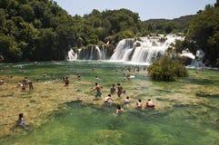 瀑布Krka在克罗地亚 免版税库存照片