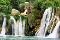 瀑布KRKA在克罗地亚 图库摄影