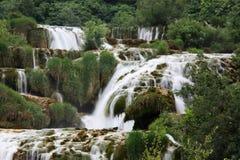 瀑布KRKA在克罗地亚 库存照片