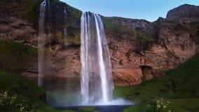 瀑布Skogafoss在冰岛 影视素材