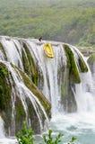 瀑布Strbacki Buk,漂流 图库摄影