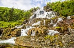 瀑布Tvindefossen,挪威 免版税库存照片