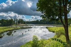 瀑布Ventas仑巴舞, Kuldiga,拉脱维亚 免版税图库摄影