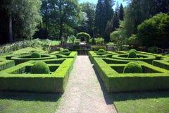 灌木修剪的花园 免版税库存照片