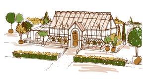 灌木或大厦围拢的色的生长在罐的单图玻璃温室和树 门面剪影  皇族释放例证