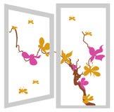 灌木花开张橙色紫罗兰色视窗 库存照片