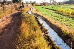 灌渠在Dakhla 免版税库存照片