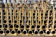 灌溉为存贮用管道输送,染黄,堆积在彼此 免版税库存图片