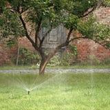 灌溉系统 一个机械自动灌溉系统喷洒了冷水作为在新鲜的绿草的喷泉 库存图片
