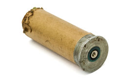 火光的老信号弹药筒在白色开枪,隔绝 库存照片