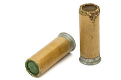 火光的老和新的信号弹药筒在白色开枪,隔绝 免版税图库摄影
