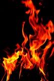 火发火焰在黑背景的特写镜头 免版税库存照片