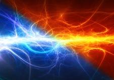 火和冰抽象闪电背景 库存图片