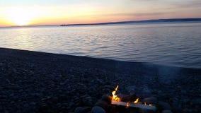 火和日落 图库摄影