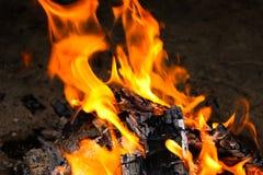 火和炭烬特写镜头照片  免版税库存照片