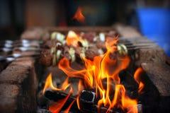 火和烤肉串 图库摄影