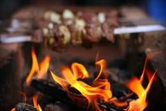 火和烤肉串 免版税图库摄影