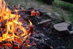 火和烤香肠 免版税图库摄影