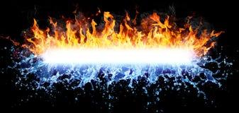 火和水强有力的 库存照片