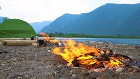 火在山湖的岸烧 影视素材