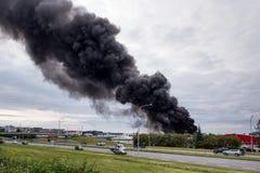 火在雷克雅未克,冰岛 图库摄影