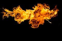 火在黑背景中 免版税库存照片