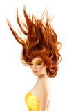 火少年女孩美丽的红色头发 免版税库存照片