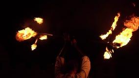 火展示喘息机会分散火焰 慢的行动 股票录像