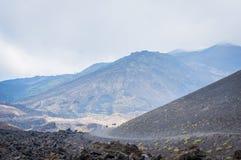 火山与游人和熔岩的Etna视图在薄雾向所有扔石头  免版税库存图片
