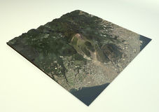 火山云仙岳卫星视图 库存图片