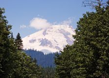 火山加盖的山的雪 库存图片