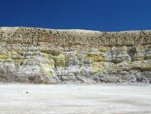 火山口侧面墙 库存图片