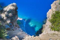 火山口湖国家公园,俄勒冈,美国边缘的风景看法  库存图片