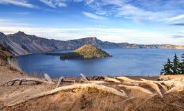 火山口湖国家公园,俄勒冈,美国 免版税库存照片