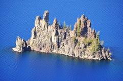 火山口湖虚拟船 库存照片