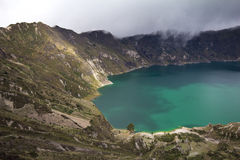 火山口湖quilotoa 库存照片