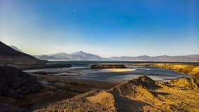 火山口盐湖Assal吉布提全景  免版税库存照片