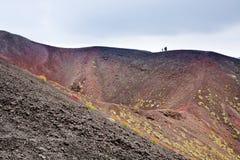 火山口etna意大利西西里岛 免版税库存图片