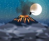 火山喷发和龙飞行 库存照片