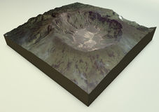 火山坦博拉火山卫星视图 库存照片