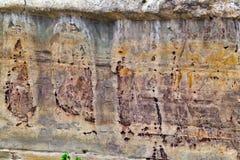 火山岩在土耳其, textur背景石灰石砂岩 免版税库存图片