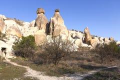 火山岩形成在卡帕多细亚,土耳其 库存照片