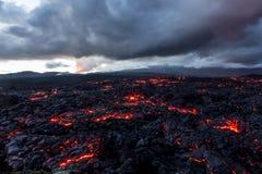 火山扎尔巴奇克火山 熔岩荒野 俄罗斯,堪察加,火山扎尔巴奇克火山的爆发的结尾 免版税库存图片