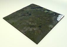 火山拉基火山卫星视图 免版税库存照片