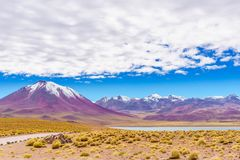 火山拉斯卡尔火山圣佩德罗火山在边界的de阿塔卡马在智利和玻利维亚之间 免版税库存照片